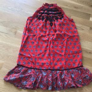 Carolina K silk chiffon red dress Anthropologie